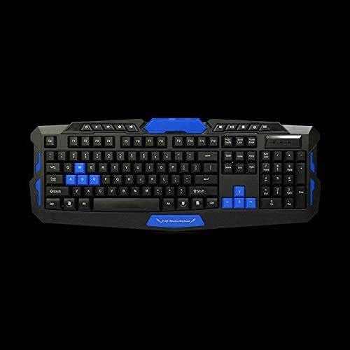 HK8100 2.4G Wireless Gaming Keyboard Mouse Combo Ergonomics Waterproof 1600DPI Optical ABS Material for PC Laptop Desktop Gamer Black/&Blue