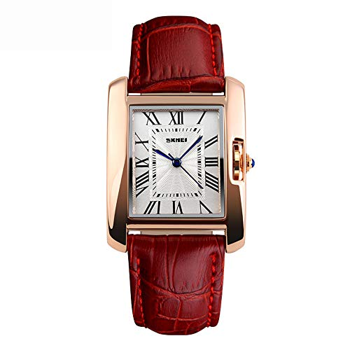 NOMSOCR Women's Metal Casual Square Dial Quartz Analog Wrist Watch with Leather Band, Water Resistant (Red) Dial Metal Quartz Watch