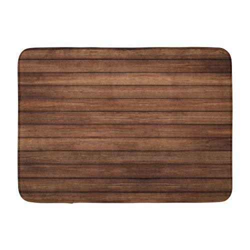 (Wood Soopat Bath Mat,Wood Horizontal Panel Wall Floor Dark Brown Vintage Nature Pine Absorbent Non-Slip,Quick-Dry,Bathroom Rugs for Bathroom Indoor Doormat 17''L x 24''W)