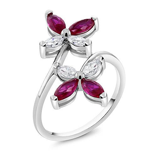 Gem Stone King 925 Sterling Silver Butterfly Marquise Created Ruby Women