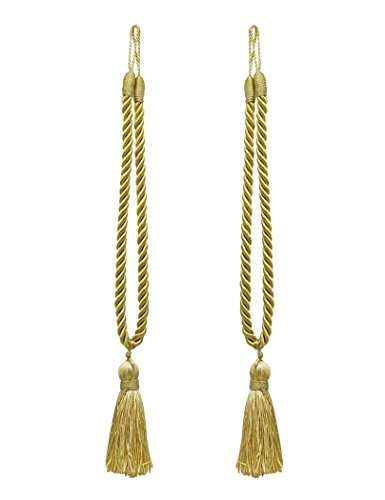 Cord Tie Backs (Home Queen Decorative Tassel Rope Tie Backs for Window Curtain, Hand Knitting Buckle Cord Drapery Holdbacks, Set of 2, Gold)