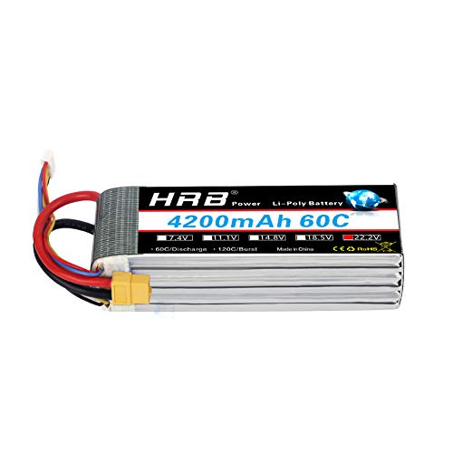 HRB 6S Lipo 22.2V 4200mah 60C rc Battery with XT60 Plug for RC Align Trex 470L Dominator Helicopter Airplane Car Boat Truck (Deans T/EC3/Traxxas/Tamiya)