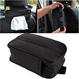 Coaste Universal Car Tissue Holder PU Leather Wear Resistant Breathable Elastic Strap Concealed Zipper Top Card Storage Bag for Home Car Truck Decoration Imaginative