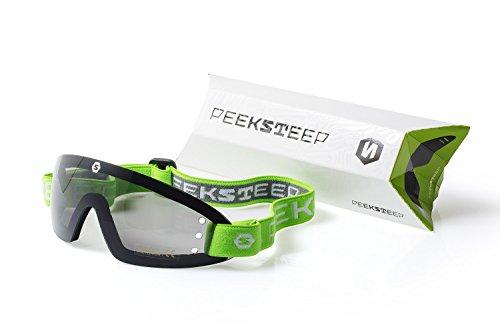Peeksteep Motorcycle/Skydiving Goggles (GREEN strap / SMOKED lens) by Peeksteep
