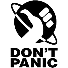 Don 't Panic Hitchhiker's Guide Vinyl Decal Sticker | Cars Trucks Walls Laptops Cups | Black | 6.5 inches | KCD841