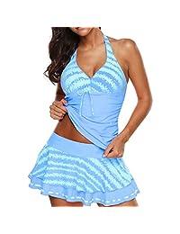 Amzeca Women Tankini Sets with Boy Shorts Bikini Set Swimwear Push-Up Padded Bra New
