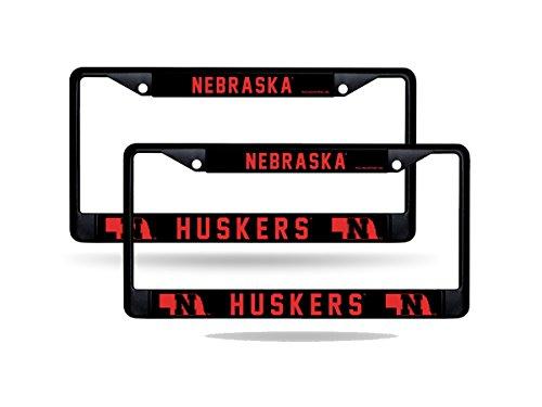 Rico Nebraska Cornhuskers NCAA Black Metal (2) License Plate Frame Set