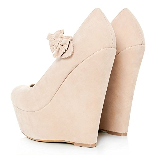 Platform High Wedge Heeled Ankle Strap Court Shoe With A Bow NUDE SUEDETTE OaubWIOa