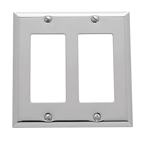 Baldwin Estate 4741.260.CD Square Beveled Edge Double GFCI Wall Plate in Polished Chrome, 4.5