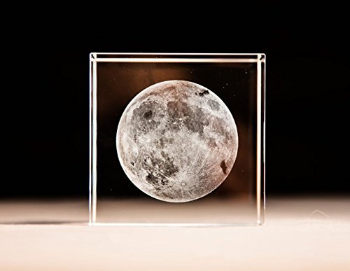 (AmazingBug 3D Moon Paperweight(Laser Etched) in Crystal Glass Cube Birthday (No Included LED Base)(2.4x2.4x2.4))