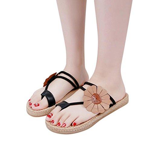 Sandales Flip-flops Womach Femmes | Sandales Dété Bohème De Mode Pantoufles String | Bretelles Casual Bretelles Chaussures Plates Noir