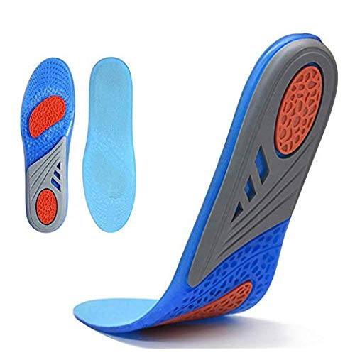 Comfort Gel Shoe Insoles, Orthotic Insoles for Men & Women, Full Length Plantar Fasciitis Inserts with Arch Support Relieve Flat Feet, High Arch, Foot Pain,Supination (Blue, 8-13)