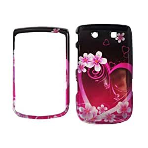 Purple Pink Love Flower Snap on Design Case Hard Case Skin Cover Faceplate for RIM Blackberry Torch 9800 + Screen Protector Film + Free Cell Phone Bag