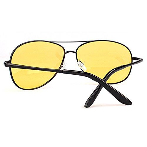 de Cadre Sunglasses UV Métal Jaune Noir Femmes Hommes Cadre Aviateur Lentille Protection Polarisées Lunettes Soleil LINNUO Eyewear ZqHA5BH