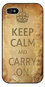 iPhone 5C Keep calm and carry on, vintage brown - black plastic case / Life Quotes by icecream design