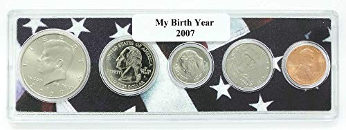 2007-5 Coin Birth Year Set in American Flag Holder - Coin Set Holder