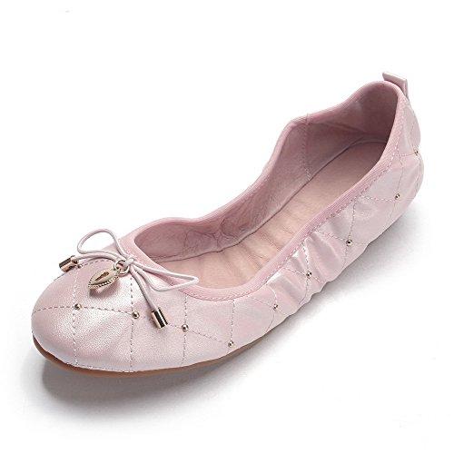 VogueZone009 Damen Rund Zehe Ziehen auf PU Leder Rein Niedriger Absatz Flache Schuhe Pink