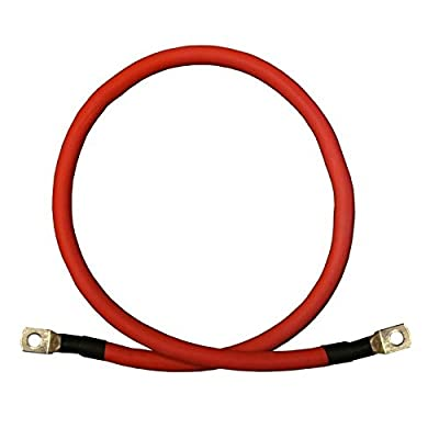 2/0 AWG Gauge Red + Black Pure Copper Battery Inverter Cables Solar, RV, Car, Boat 12 in 5/16 in Lugs: Car Electronics