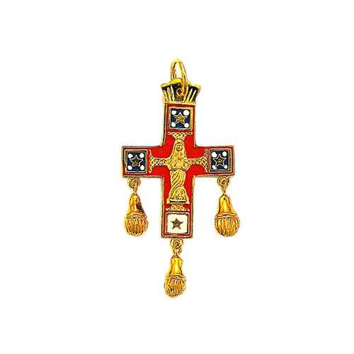 Souvenirs de France - Croix Saint-Esprit Réversible du Velay (Auvergne) - Materiau : Or Plein 18-Carats et Émail de Limoges.