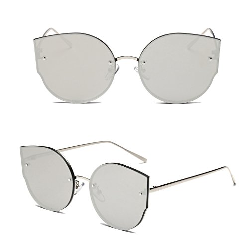 Fang sky Fashion Women Cat Eye Sunglasses Designer Vintage Mirrored Eyeglasses Shades New (Silver+White - Eyecat Glasses