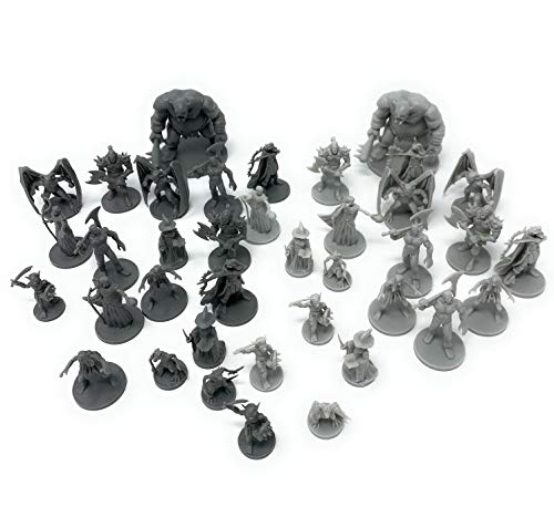 38 D&D Miniatures Fantasy Tabletop RPG Figures for Dungeons and Dragons, Pathfinder Roleplaying Games. 28MM Scaled Miniatures, 10 Unique Designs, Bulk Unpainted, Great for D&D/DND