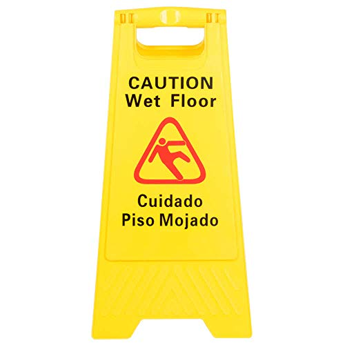 Two-Sided Wet Floor Caution Sign English/Spanish, Yellow, 24-inch by 12-inch Fold up Plastic Sign, Caution Signs by Tezzorio by Tezzorio Signs