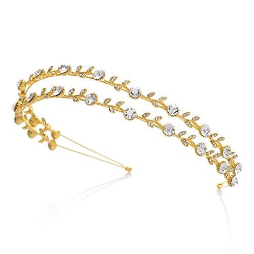 SWEETV Sparkly Crystal Hair Band Rhinestone Headband Tiara Wedding Hair Accessories, Double Band Gold