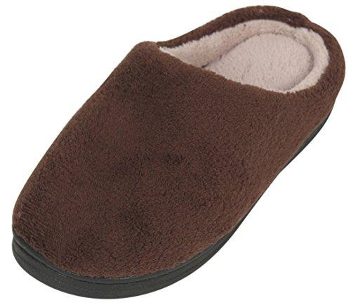 LUXEHOME Mens Slip On Indoor/Outdoor Coral Fleece Footwear/Slipper Coffee