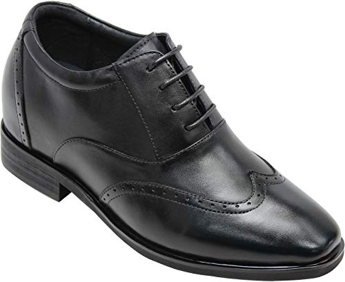 CALTO Men's Invisible Height Increasing Elevator Shoes - Black Leather Lace-up Brogue Wing-tip Oxfords - 3.2 Inches Taller - G51123 - Size 11 D(M) US (Elevator Shoes)
