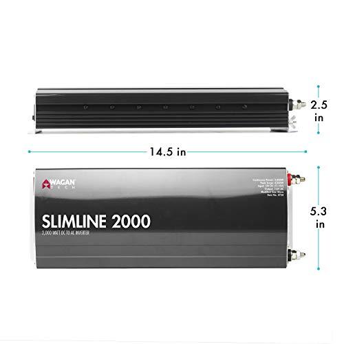 Wagan EL3724 2000W Slim Line 4500W Surge Peak, 12 Volt DC Input Power Inverter, Black