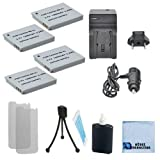 4 NB-4L Rechargeable Battery + Car/Home Charger For Canon IXY Digital Series IXY Digital 10, 40, 45, 50, 55, 60, 70, 80, 90, Wireless, L3, L4 & More.. Camera + Complete Starter Kit