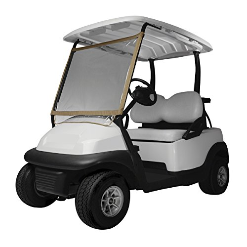 (Classic Accessories Fairway Deluxe Portable Golf Cart Windshield, Sand/Clear)