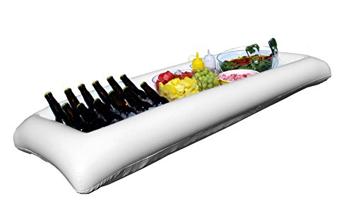 Large White Inflatable Serving Bar Buffet Cooler With Drain Plug - perfect blow up server caddy to keep food salad and drinks cold - great for outdoor and indoor (Black Melamine Fish Platter)