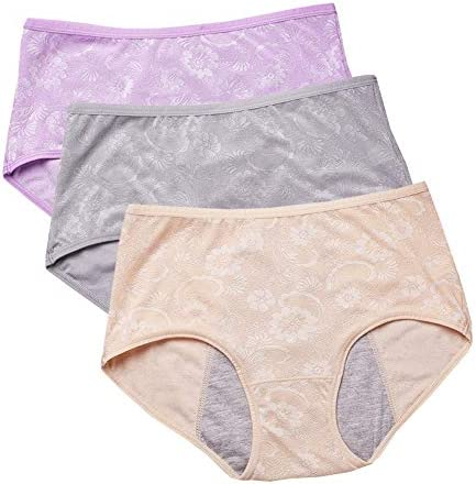 YOYI FASHION Women Menstrual Period Briefs Jacquard Easy Clean Panties Multi Pack US Size XXS-4XL//11