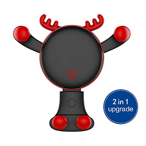 Car Phone Holder, REDSHINE Upgrade Universal Car Mount 2 in 1 Air Vent Car Mount Dashboard Car Mount Gravity Cell Phone Holder for Car for iPhone X 5S 6s 6 Plus 7 8 Galaxy S8 S9 and More (Black) ()