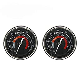 Bbq Grill Temperature Gauge Waterproof Large Face For Kamado Joe Barbecue Charcoal Grill Stainless Steel 150 900°f Cooking Thermometer For Oven Wood Stove Accessories Tool Set Up Easy Black 2 Pack