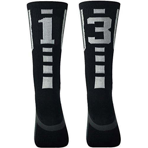"Volleyball Team Socks, Comifun Unisex Boys Girls Custom Football Basketball Soccer Team Sports Number Dri Fit Moisture Wicking Half Cushioned Player Socks, 1 Pair, Black/White/Grey ""13""""31"", 13-17 Years"