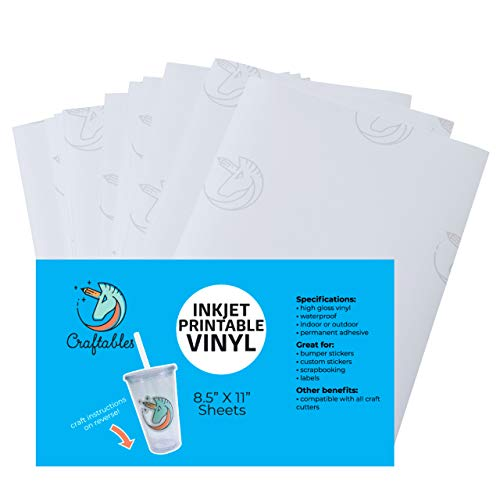 Craftables Waterproof Inkjet Sticker Paper - 10 Sheets Printable Vinyl - Inkjet (Matte White)