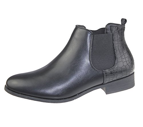 Womens Ankle Boots Ladies Chelsea High Top Casual Riding Elasticated Shoes Size Black Pu ZCLqmm