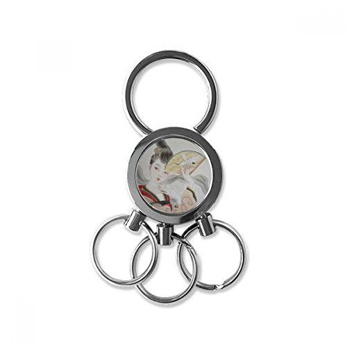 Beauty Folding Fan Chinese Painting Stainless Steel Metal Key Chain Ring Car Keychain Keyring Clip Gift hot sale
