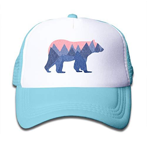 (KKMKSHHG Bear Mountain Youth Adjustable Mesh Hats Baseball Trucker Cap for Boys and Girls (One Size, SkyBlue 1))