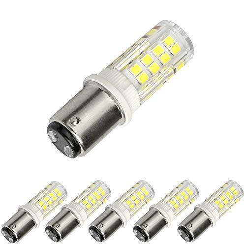 BA15D Led Bulb,T3/T4/C7/S6, Double Contact Bayonet Base,Dimmable LED Light 5W 110v 120v 350lm Daylight 6000K ()