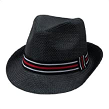 Decky Black Straw Fashion Fedora Hat with Red Band (Large/XL)
