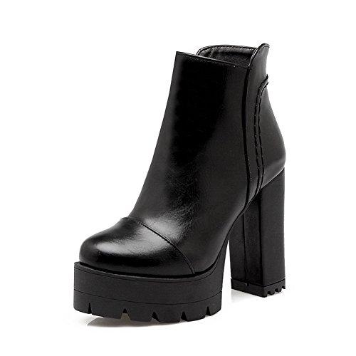 A&N Ladies Platform Chunky Heels Zipper Solid Imitated Leather Boots Black NJe76m