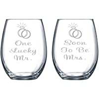 One Lucky Mr. and Soon To Be Mrs. Etched 15 oz. Stemless Wine Glasses Set - Engagment Gift Set