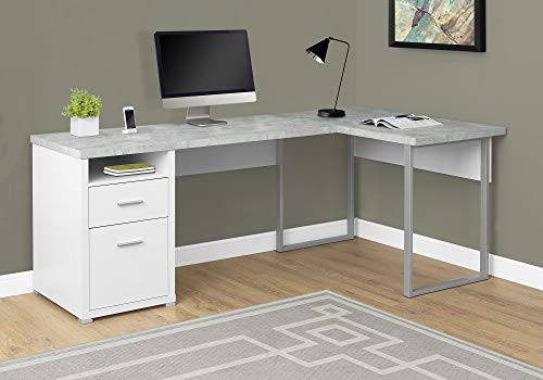 Monarch Specialties I 7258 Computer Desk Left or Right Facing White / Cement-Look 80