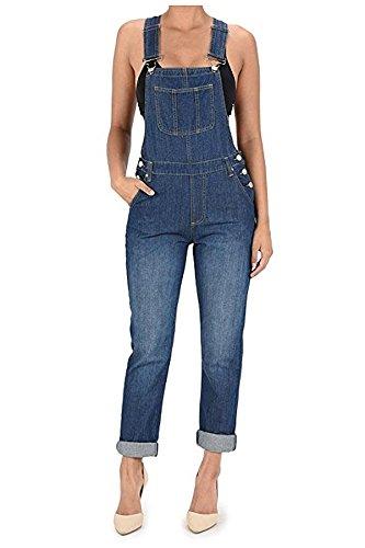 Basic Boyfriend Fit Denim Bib Overalls Plus Size Available (1X, Blue #Rjho170) (Women Denim Overalls)