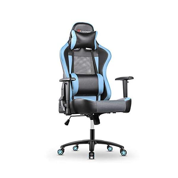 mfavour Chaise Gaming, Fauteuil Gaming en Maille, Chaise de Bureau, Chaise Pivotante Ergonomique avec Appui-tête et…