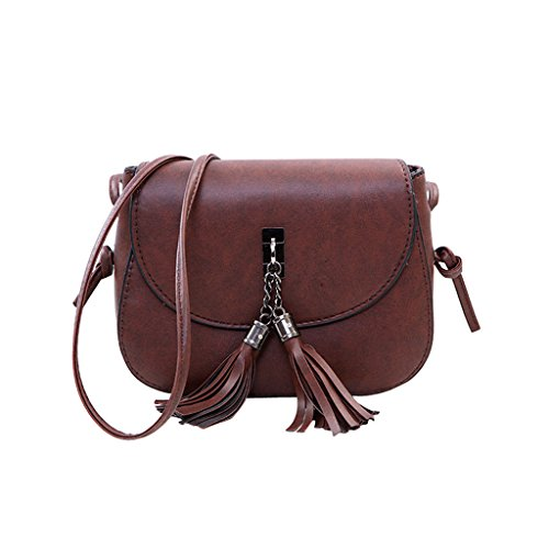 Timberlark Fashion Women Girl Small Mini Tassel Crossbody Shoulder Bags Tote Purse Handbag (Dark Brown)