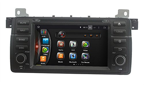 lsqSTAR Android 4.4.4 Quad Core 16GB 1024*600 Single Din in Dash Sat Nav Car Stereo DVD Player Navigation with 7 Inch Capacitive Screen for BMW E46 (1998-2005)/M3(1998-2005) Support Mirror Link/Rear Camera Input/Bluetooht/3G/WIFI/OBD2/DVR/USB/SD/Steering Wheel Control